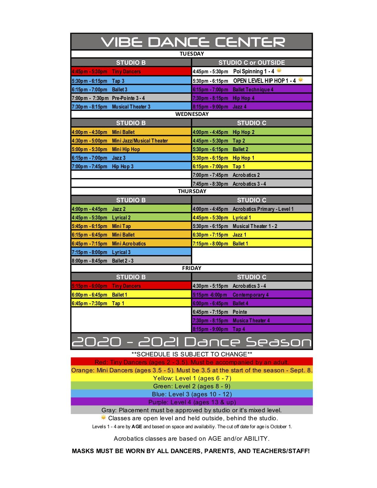 2020-2021 Schedule